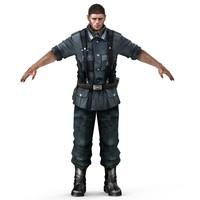 3d model german soldier man