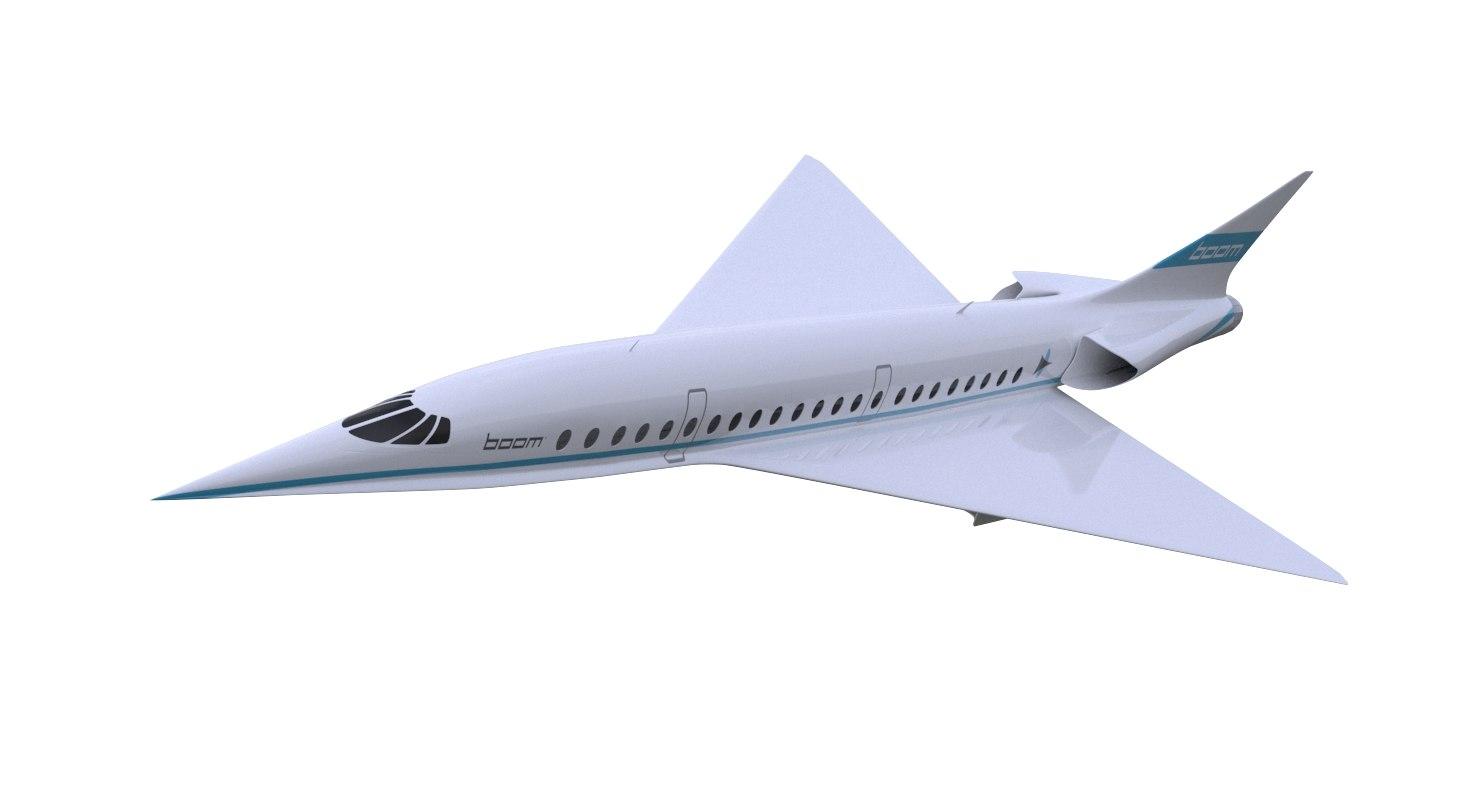 boom xb-1 supersonic 3d model