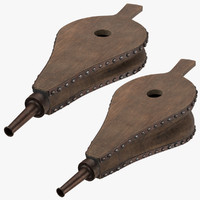 3d blacksmith bellows opened closed model