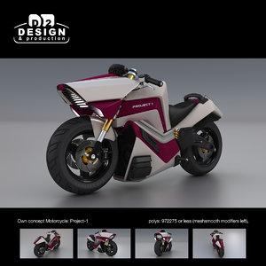 futuristic bike concept: 3d model