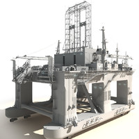 3d model oil rig semi-submersible white
