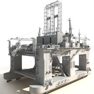 3d model oil rig semi-submersible white