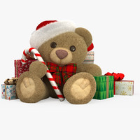 3d model christmas teddy bear