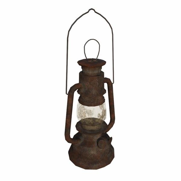 rusty oil lamp 3d model