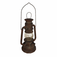rusty oil lamp 3d model