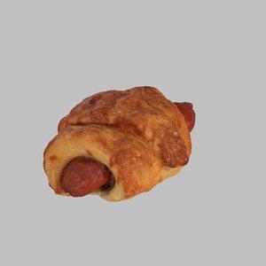 3d photoreal sausage croissant model