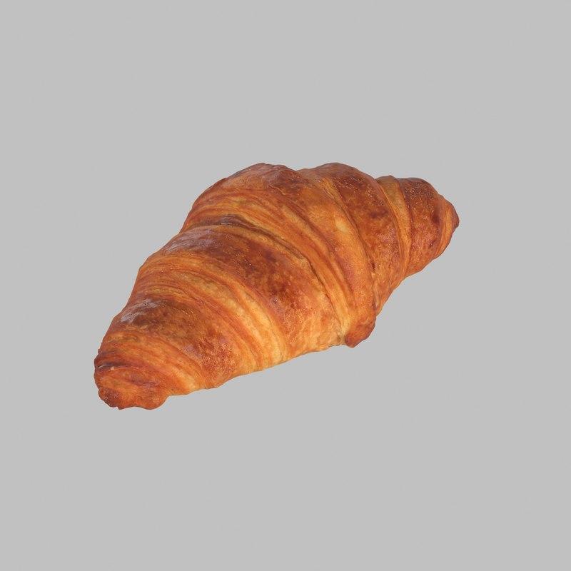 3d butter croissant model