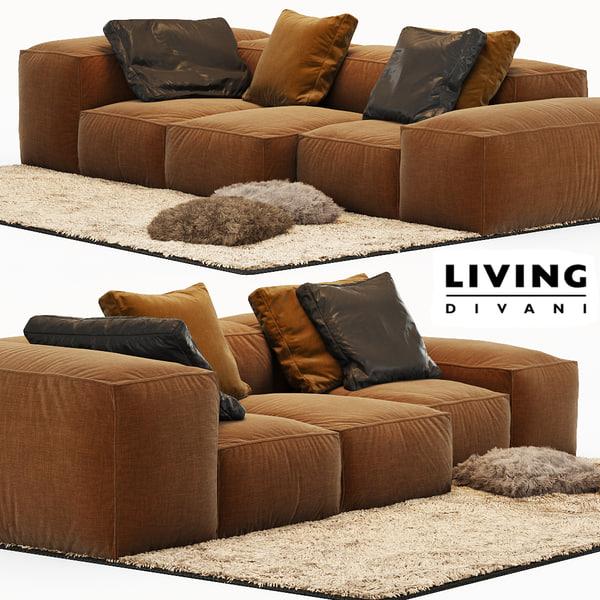 sofa extrasoft living divani 3d 3ds