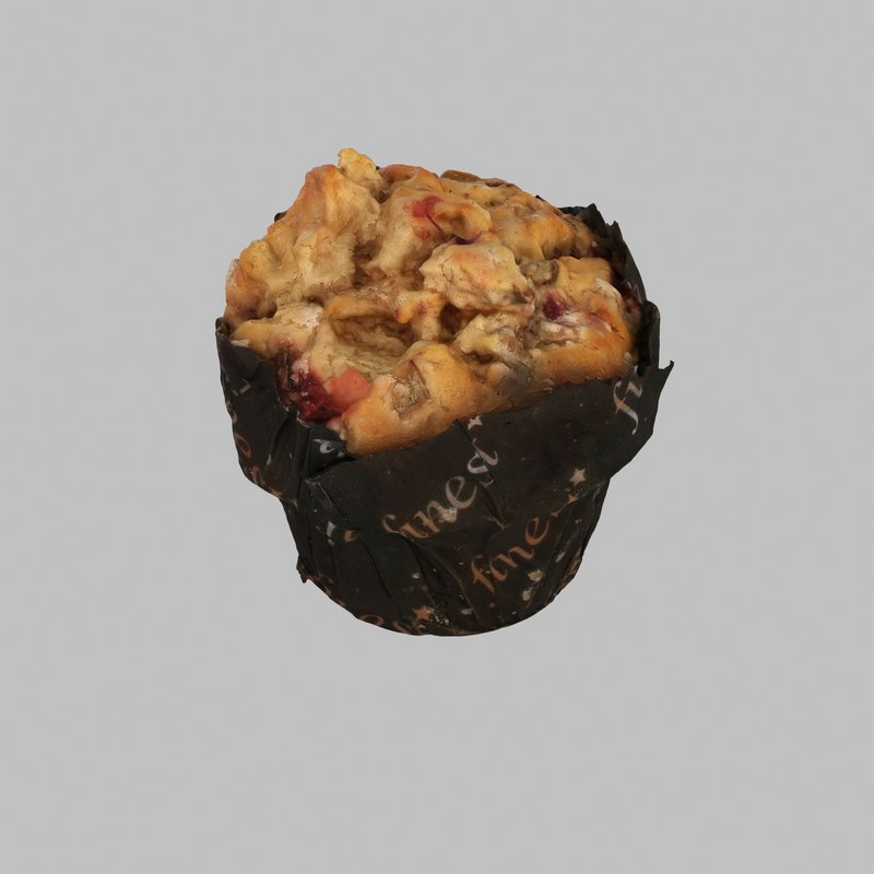3d muffin raspberry berry model