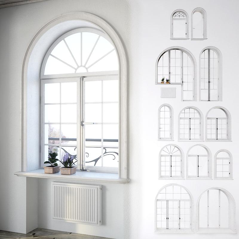 3d classic window set model