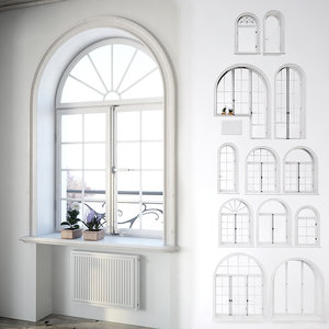 3d classic window set model