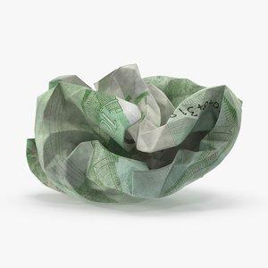 100 euro bill crumpled 3d max