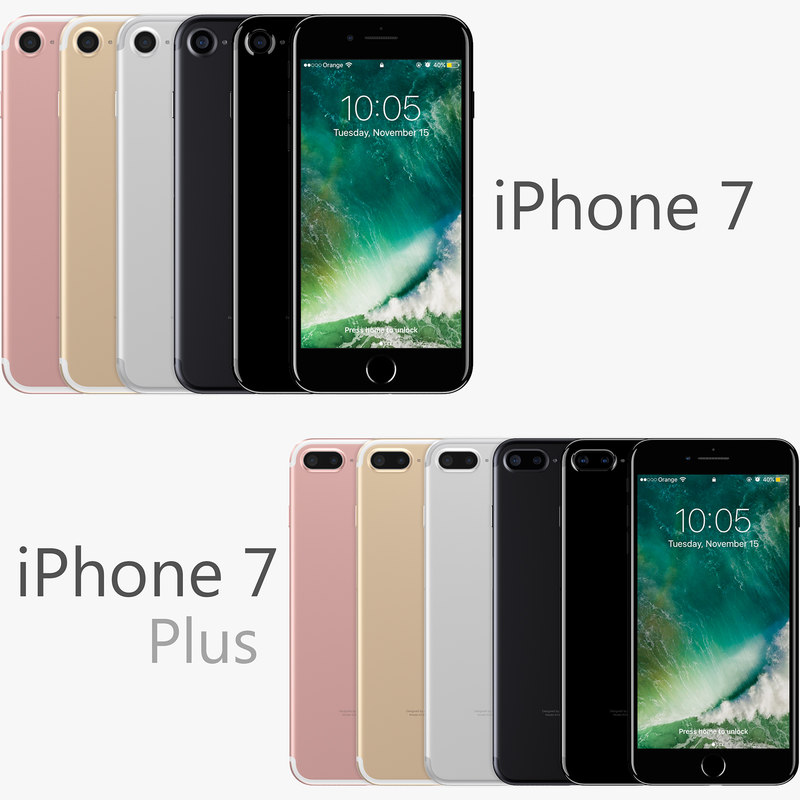 3D модель Apple iPhone <b>7</b> Plus + iPhone <b>7</b> Все цвета - TurboSquid ...