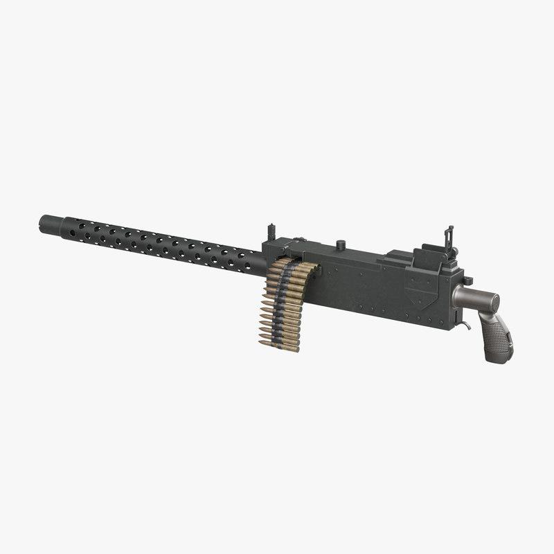 machine gun browning m1919 3d model