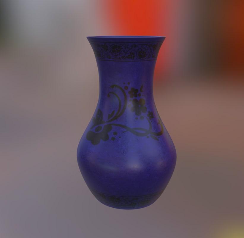 3d model blue vase pattern