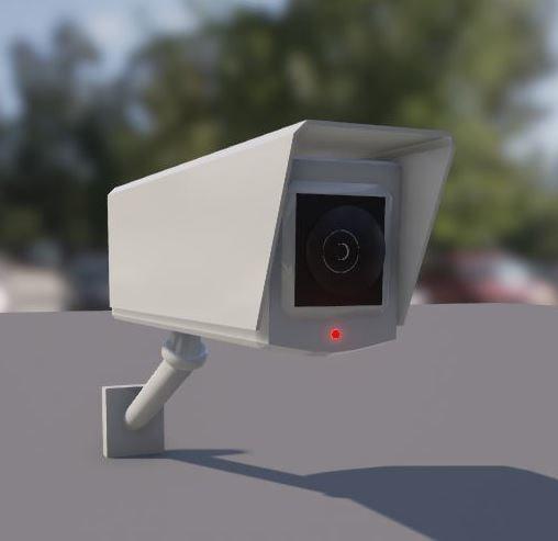 3d model of wall-mounted cctv camera