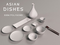 asian dishes 3d max