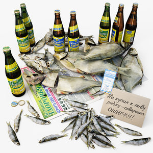 russia dried fish beer 3d max