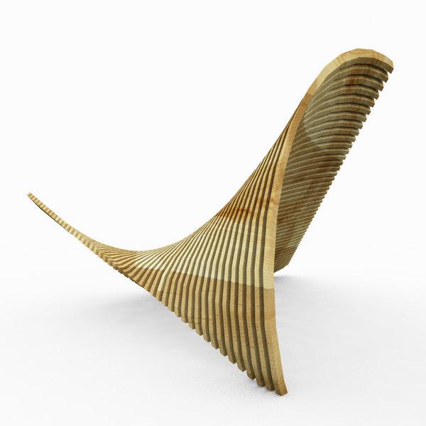 parametric wood bench 3d model