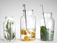 Bottle Vases with Branches and Orange Slices