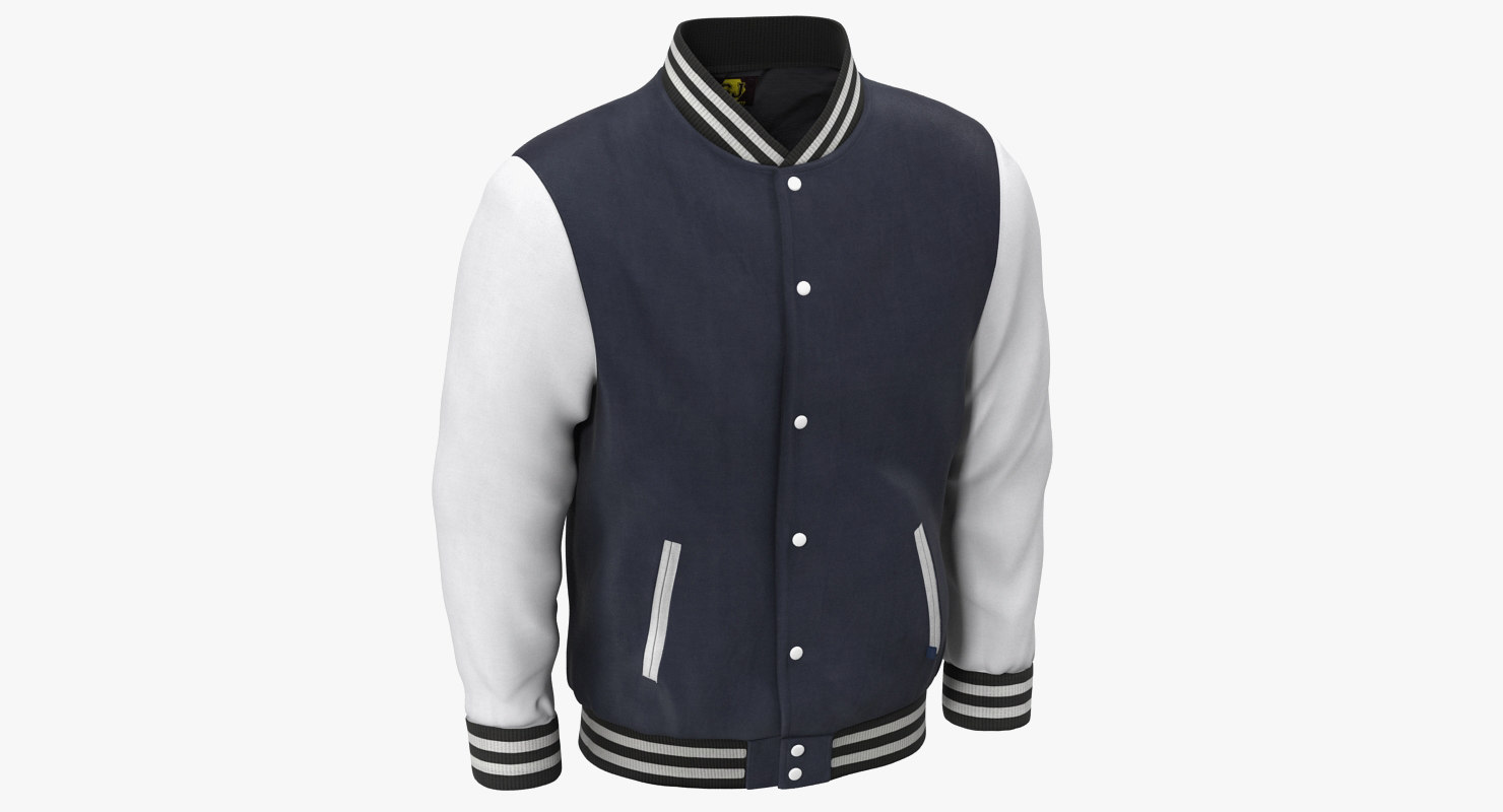 blue baseball jacket 3d model