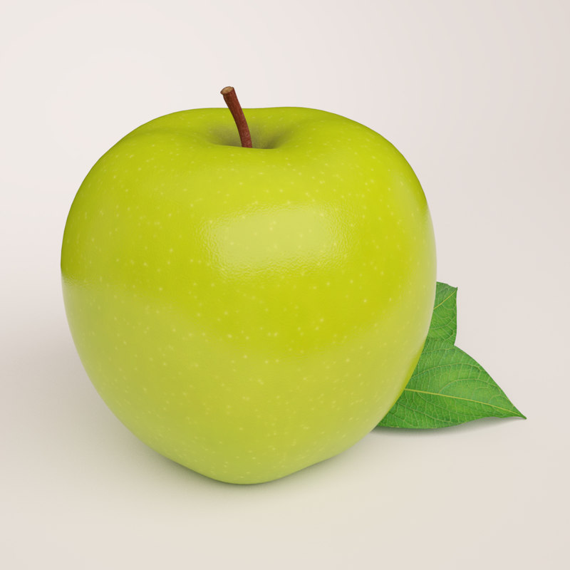 3d max realistic green apple