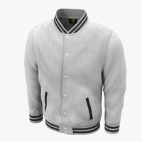 3d white baseball jacket