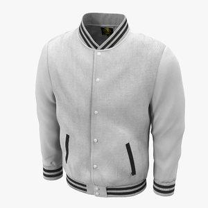 3d white baseball jacket
