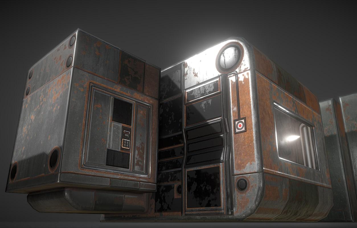 3d model futuristic living module rusty