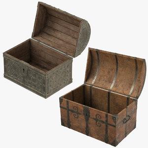 2 medieval chests 3d obj