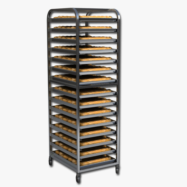 3d obj commercial bread rack