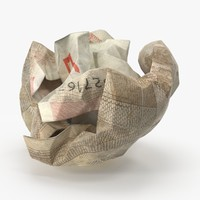 50 euro bill crumpled 3d model