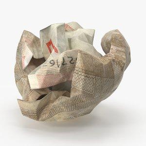 50 euro bill crumpled 3d max