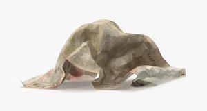 50-euro-bill-crumpled---folded c4d