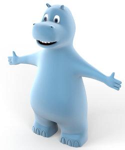 3d hippo animation