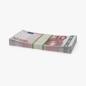 10 euro bill pack 3d model