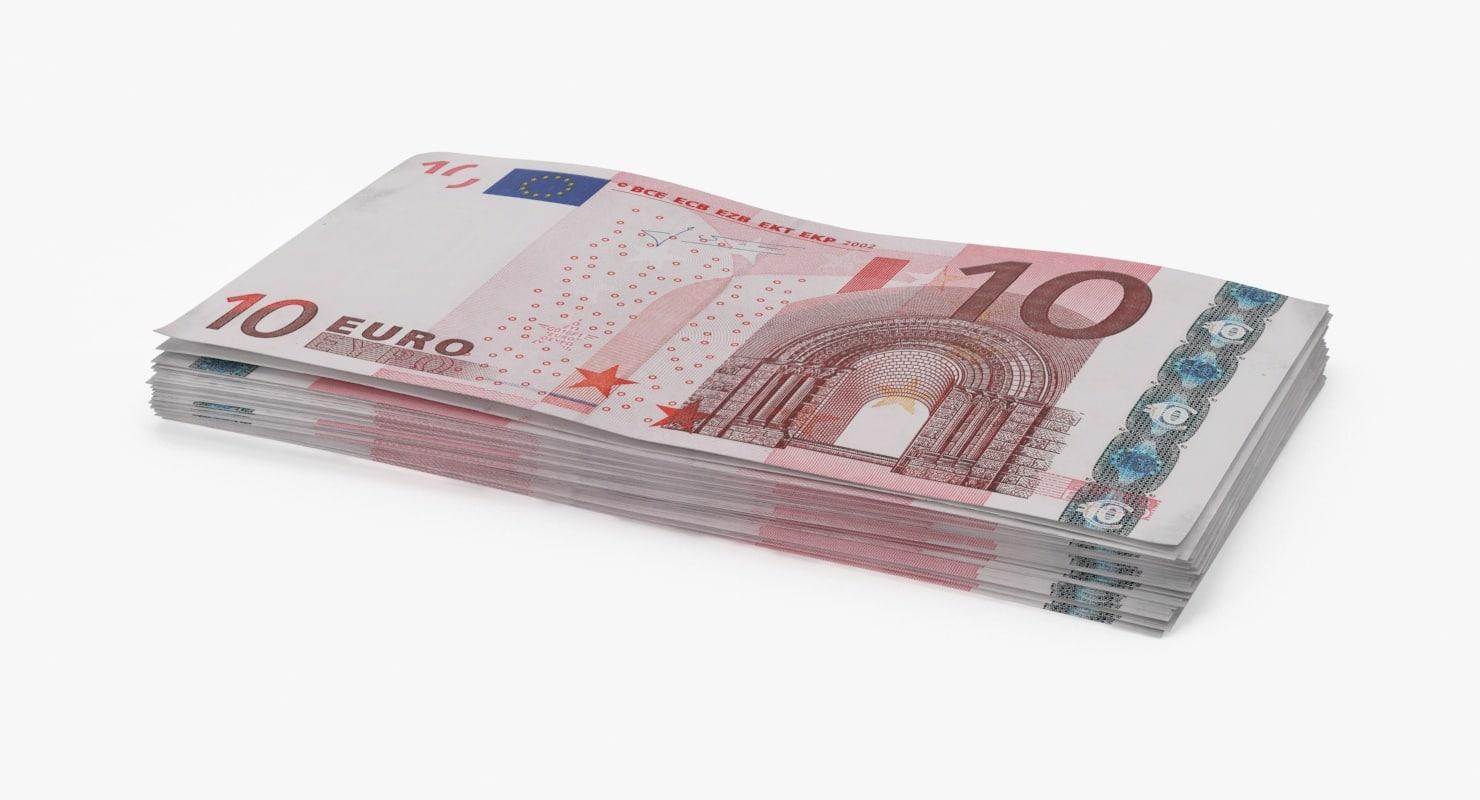 3d max 10 euro bill stack
