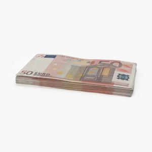 3d 50 euro bill stack