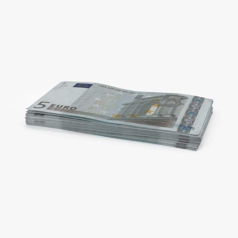 3d max 5 euro bill stack