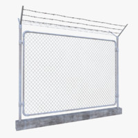3d model barbed wire fence