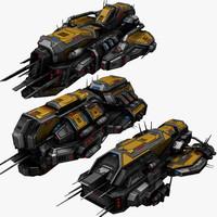 sci-fi spaceships 3 civilian 3d max