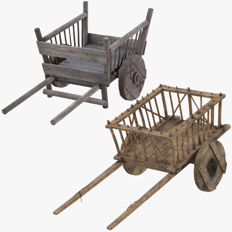 3d model medieval wagon hand cart