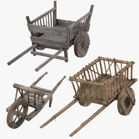 3d medieval wheelbarrow wagon cart