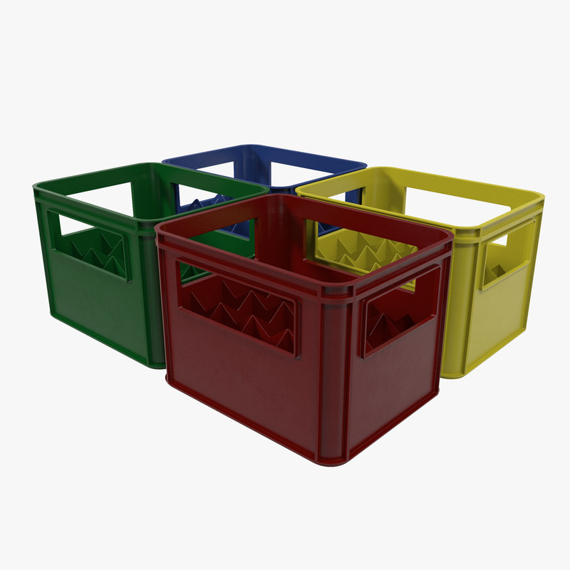 set plastic bottle crates 3d model