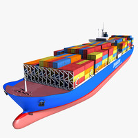 realistic container cargo ship 3d model