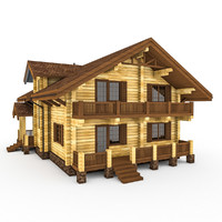 3d model of log wood house