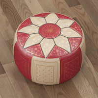 obj moroccan leather pouffe red
