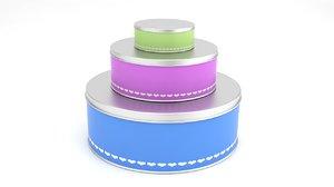 3d model biscuit cake tins