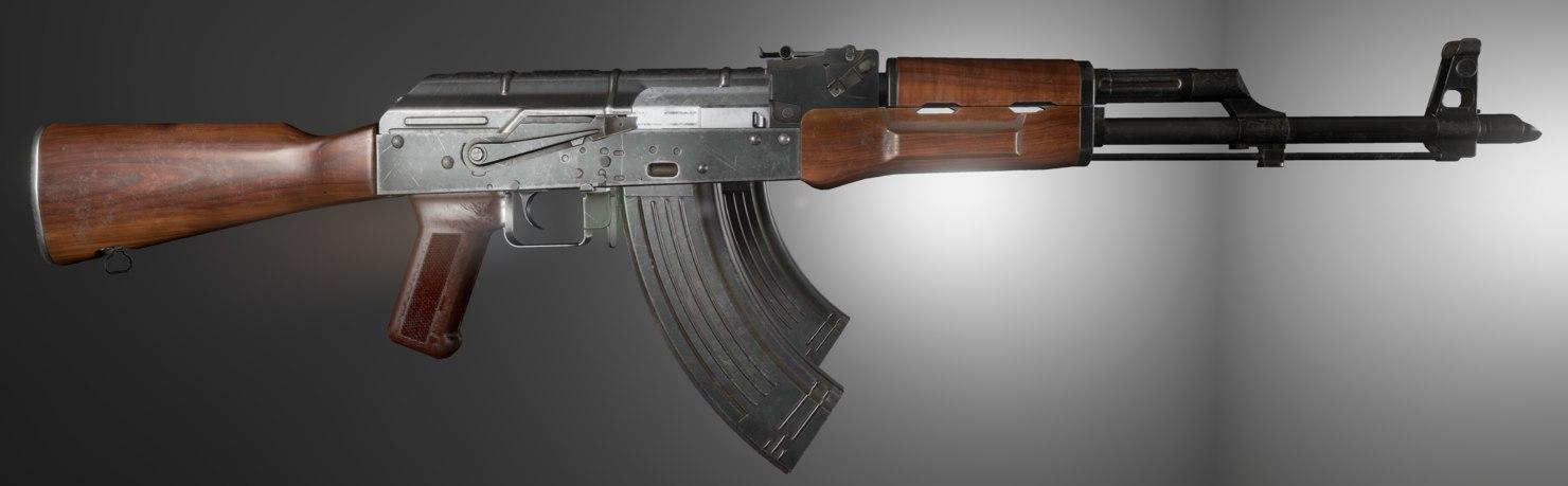 3d model akm rifle