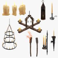 medieval lighting set 3d model